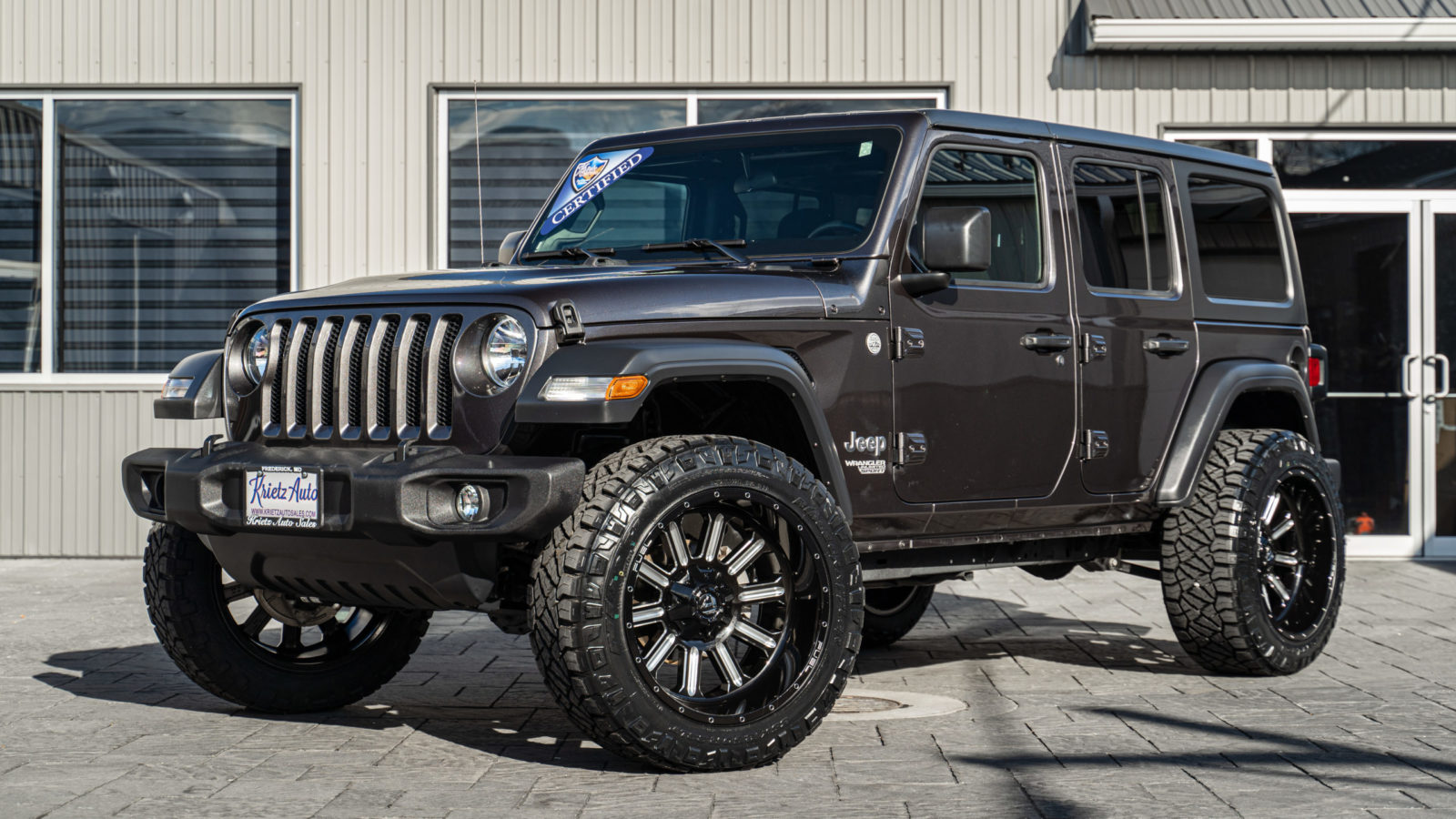 2019 Gray Jeep Wrangler with Fuel Wheels