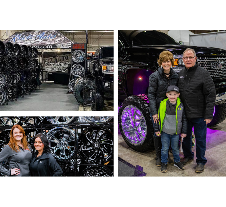 picutre of family in front of lifted truck, woman standing in front of wheels, krietz customs trade show display